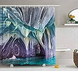 N\A Cortina de Ducha, Cortina de Ducha de bebé Cortina de Ducha naítica Los Colores Azules Las Cuevas de mármol en Chile Decoración Impermeable Tela de baño Diseño de poliéster Conjunto con Ganchos