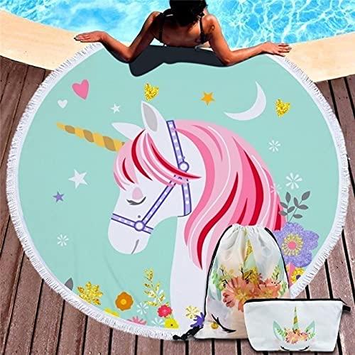 IAMZHL Toalla De Playa Redonda Borla Manta Grande Estera De Yoga De Picnic Toallas De baño De Viaje para natación para Adultos Toalla De Playa-Towel and Bag 1