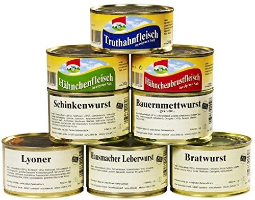 8er Set Wurstkonserven / Fleischkonserven, rd. 2,9 kg, z.B. Hausmacher Leberwurst, Mettwurst , Lebensmittelvorrat