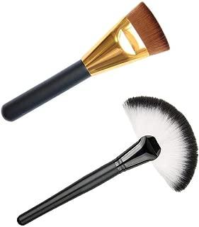 Electomania Set of Slim Fan Brush Makeup Blush & Professional Flat Contour Brush for Makeup (2Pcs)