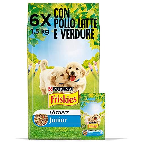 Purina Friskies Crocchette Cane Vitafit Junior con Pollo e Verdure e con Latte, 6 Confezioni da 1,5 kg Ciascuna, Peso Totale 9 kg