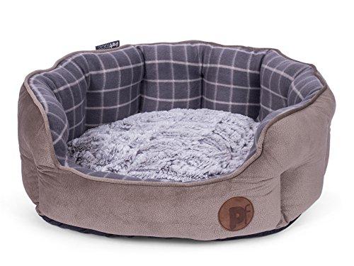 Petface Check en Bamboe Ovale Hond of Kat Bed, Groot, Grijs