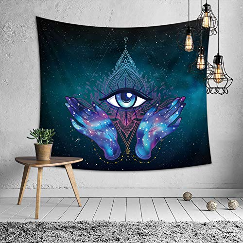 OATHENE Hamsa Purple Tapestry,Traditional Hamsa Hand Third Eye Figure in The Centre Theme Ethnic Mandala Artwork,Polyester, 60L x 51 W Inches (150cm x 130cm),Purple