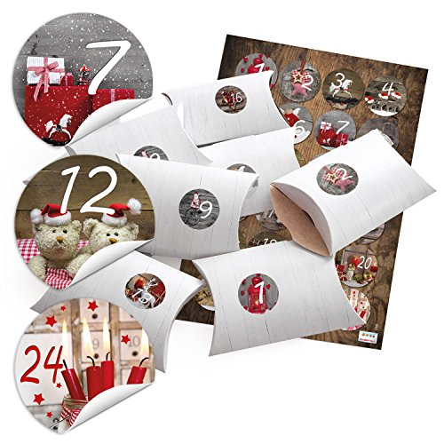 24 kleine geschenkdozen geschenkdozen dozen met houten look wit 14,5 x 10,5 cm, 3 cm hoog + sticker adventskalender cijfers