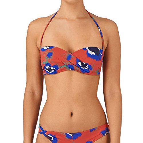 HUIT Damen Trägerloser Bikini-Set, Geblümt, Mehrfarbig (4065 Citrouille), Gr. 70D (Herstellergröße: 85D)