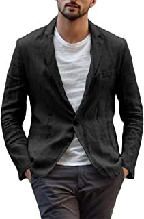 Mens Linen Blazer Slim Fit Suit Jacket Two Button Summer Lightweight Casual Outwear Beach Wedding Tuxedos