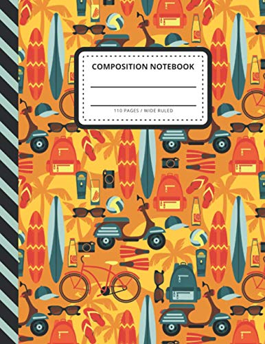 Composition Notebook: Surfboard Bike Moped Pattern - Tropical Summer Vacation Art / Wide Ruled Notebook Paper for Kids / Large Writing Journal for ... / Back to School for Boys Girls Children