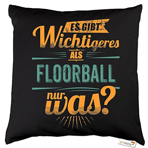 getshirts - Rahmenlos® Geschenke - Kissen - Sportart Floorball - es gibt wichtigeres als - Petrol - Dunkelgrau Uni