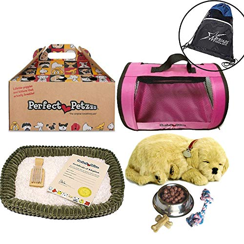 Perfect Petzzz Golden Retriever Plush with Pink Tote For Plush Breathing Pet, Dog Food, Treats, Chew Toy and Drawstring Bag
