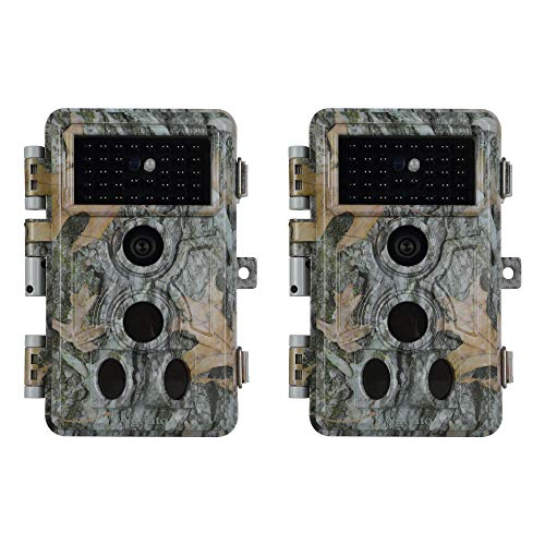 2-Pack Game Trail Camera No Glow 20MP 1080P H.264 MP4/MOV Video Night Vision 0.1S Trigger Motion Activated Easy Operate Waterproof...