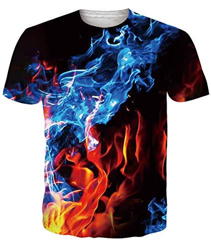Fanient Herren Damen Aufdruck T-Shirt Rundhals Tee S M L XL XXL, Colorful Ink 3, L