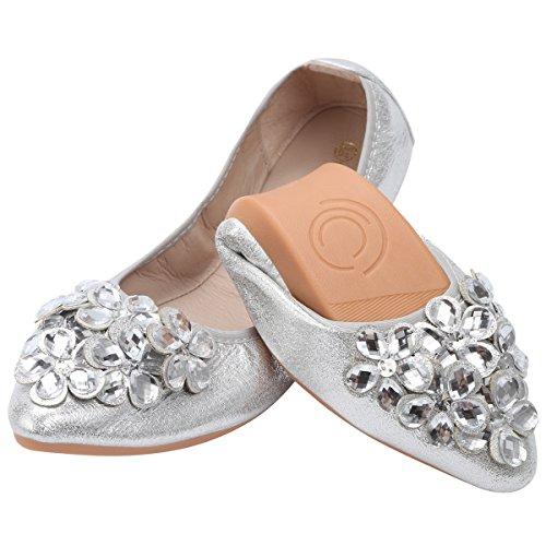 Qimaoo Damen Klassische Ballerina Geschlossene Glitzer Ballerinas Mokassin Slip-on Sommer Flache Schuhe mit Strass,Silber, 42 EU,Herstellergröße/CN:43