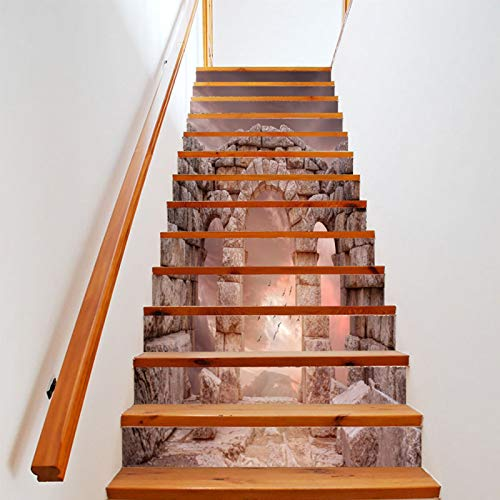 Etiqueta Engomada De Las Escaleras del Paisaje Tridimensional 3D PVC Impermeable A Prueba De Humedad Moda Pasos Creativos Etiqueta De La Pared Decorativa