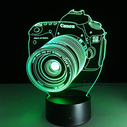 Estilo de la cámara 3D Led Optical Illusion Smart Night Light, 7 colores que cambian USB Power Touch Switch Decoración Lámpara Mesita de noche Lámpara de escritorio Regalo de Navidad para niños