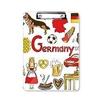 ドイツの風景の動物の国旗 フラットヘッドフォルダーライティングパッドテストA4