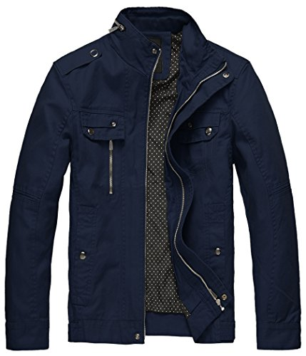 Wantdo Men's Washed Cotton Slim Windproof Outdoor Jacket Navy,Small