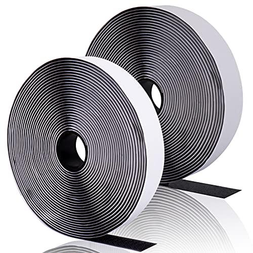 Trusiel Klettband Selbstklebend Extra Stark, 8M Klettverschluss Selbstklebend 20mm Breit Doppelseitiges Klettband Klebepad Flauschband und Hakenband (Schwarz)