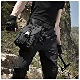 Antarctica Waterproof Military Tactical Drop Leg Pouch Bag Type B Cross Over Leg Rig Outdoor Bike Cycling Hiking Thigh Bag (Black)