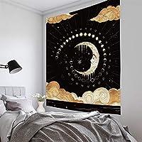 スタームーンガールブラックホワイトシリーズホームタペストリー壁掛け、ポリエステル3D印刷窓カーテンビーチタオルリビングルーム装飾布 B-230*150CM