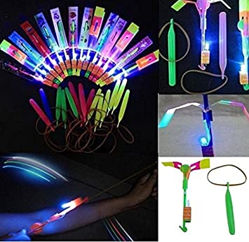 1-25 LED Arrow Flying Rocket Helicopter Flash LED Light Toy  Elastic Copter kids