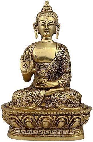 India G Buddha Statue Meditation Buddha Sakyamuni Dhyani Mudra Home Decor Peace Statues Blessing Buddha Idol Ornaments Meditation Seated Pose - Brass Statue Height - 7 inch