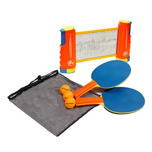 New Harvil Portable and Retractable Table Tennis Net Set to-Go with Free Balls, Rackets, and Mesh Ba...