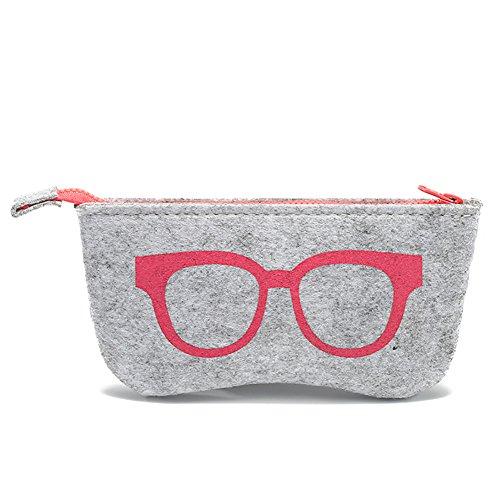 Daliuing Sac Souple Lunettes décontracté Portable Feutre Fermeture Éclair multifonctionnel œil étui à lunettes pour le maquillage Pouch Purse Lunettes 18.5 * 9CM rose