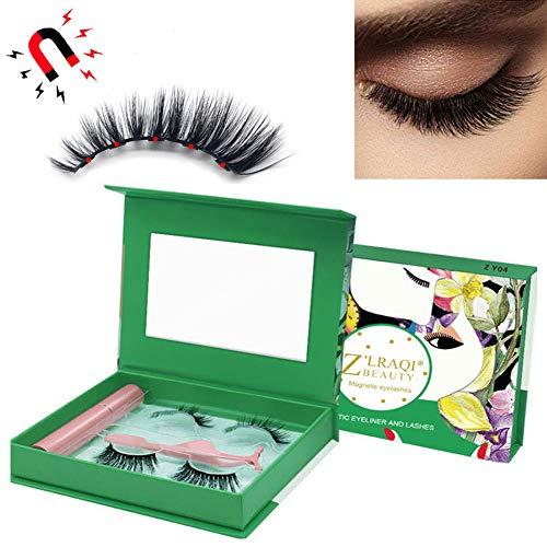 Eyeliner Magnétique Et Kit De Cils, Cils en Vison Doux Réutilisables Naturels 3D, Eye-Liner Liquide Magnétique Imperméable à l'eau avec des Pincettes Gratuites,Zy01