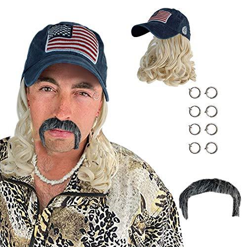 Peluca Rubia de Cosplay Exótica con Pendientes de Clip de Sombrero Y Bigote para Niños Adultos