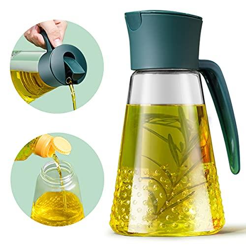 DINGC 630 ml Dispensador de Aceite con Mango para Cocina, Barbacoa y Ensalada, Vidrio Duro Aceitera Antigoteo con Tapa de Cierre Automático Tipo Gravedad, Fácil de Rellenar y Limpiar (Verde)