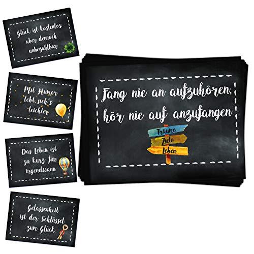 Logbuch-Verlag 25 Sprücheaufkleber 5 x 5 Motive schwarz weiß Motivation Glück Mut positive Sprüche Aufkleber Sticker - Verzierung Verpackung 7,4 x 5,2 cm