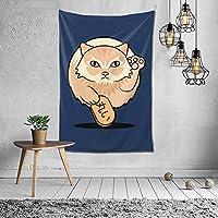 丸い猫 タペストリー 壁掛け インテリア 多機能壁掛け ファブリック装飾用品 模様替え 部屋 窓カーテン 個性ギフト 新居祝い 152cmx102cm