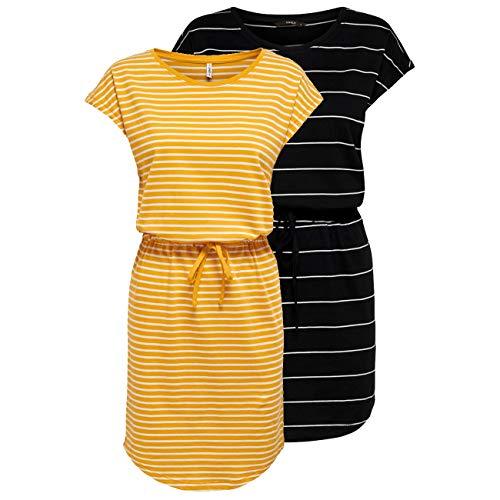 ONLY Damen Sommer Mini Kleid onlMAY S/S Dress 2er Pack XS S M L XL XXL Gestreift Schwarz 100% Baumwolle, Größe:XXL, Farbe:Black Thin Stripe & Mango Mojito