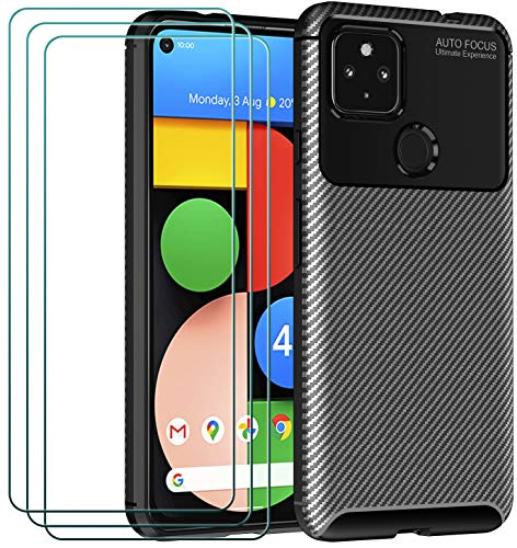 ivoler Case for Google Pixel 4A 5G + 3 Pack Tempered Glass Screen Protector, Carbon Fiber Design Shock Absorption Bumper Cover, Slim Soft Silicone Shockproof Phone Case - Black