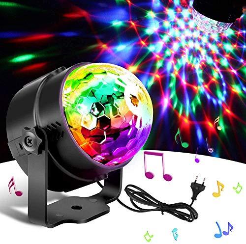 Led-discobol voor kinderen, muziekgestuurd, disco-lichteffecten, RGB-feestlicht, tijdgestuurd sfeerlicht met 7 kleuren, 4 helderheidsniveaus en afstandsbediening voor kinderen, kamer, partylamp