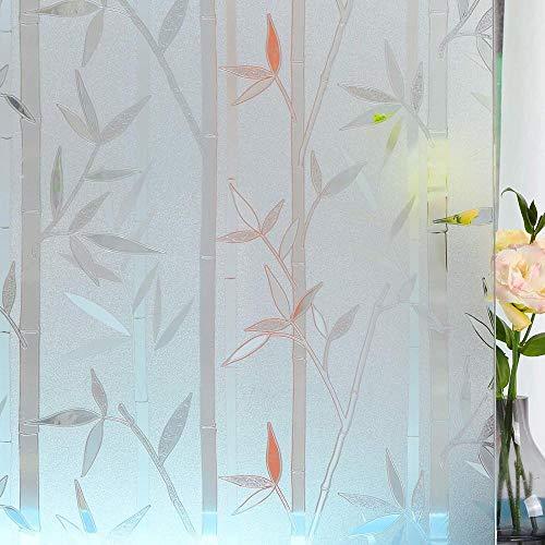 Ventana Película Estática Ventana De Privacidad 3D Película Mate Patrón Adhesivo De Bambú Autoadhesivos Para Decoración De Tienda De Oficina En Casa-Beige_Los 60X500Cm