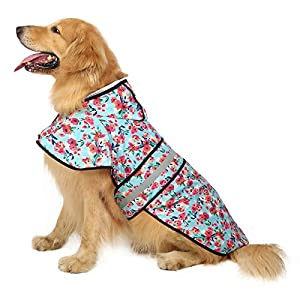 HDE Dog Raincoat Hooded Slicker Poncho for Small to X-Large Dogs and Puppies (Turquoise, Large)