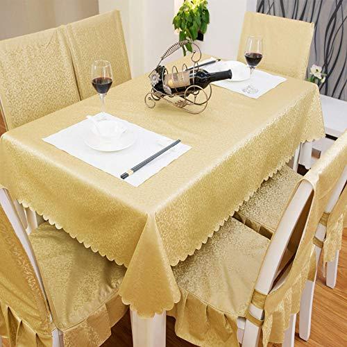 Yinaa Mantel Mesa Rectangular Antimanchas Impermeable Cubremesa Resistente Al Desgaste Anti Escaldado para de Hogar Picnic del Hotel Tienda de Café Dorado 90×150cm