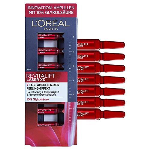 L'Oréal Paris Ampullen, Revitalift Laser X3, Anti-Aging Gesichtspflege mit Peeling-Effekt, 7-Tage-Kur, Glykolsäure, 7 x 1,3 ml