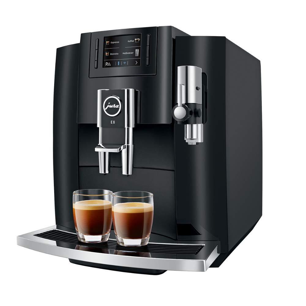 Jura E8 Máquina de café automática (15270, Piano Negro) Bundle con recipiente de vidrio para leche (2 artículos): Amazon.es: Hogar
