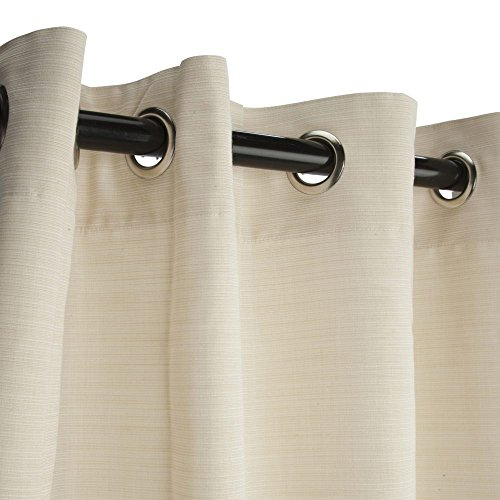 Sunbrella Outdoor Curtain with Grommets, Dupione Pearl, 50 in X 96 in