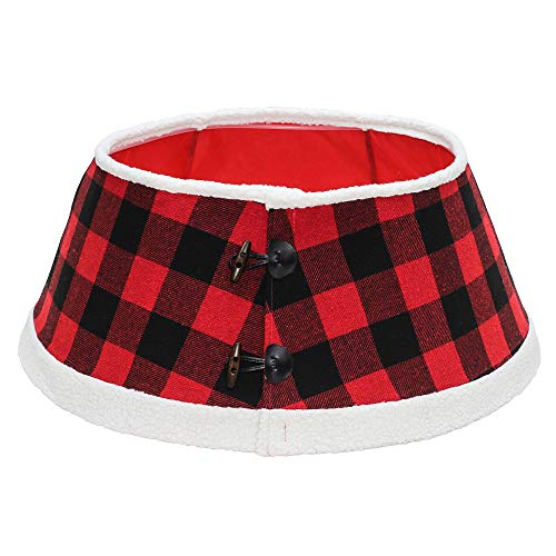 New Traditions - Buffalo Check Stand Band Christmas Tree Collar with Toggle - Black/Red