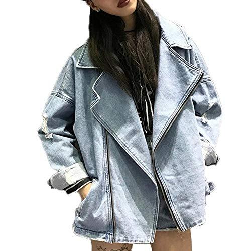 WLXFVNYBD Frauen Basic Jeansjacke Übergroße Frauen Bikerjacke Weibliche Jeans Mantel Casual Vintage Jaqueta Feminina Oberbekleidung Boyfriend @ Blue_