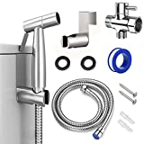 Handheld Bidet Toilet Sprayer, Stainless Steel Sprayer Attachment, Baby Diaper sprayer, toilet sprayer and Shower Sprayer for cleaning Pet, Wall or Toilet Mount