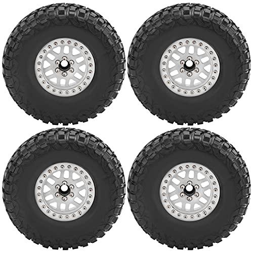 SPYMINNPOO 4PCS RC Neumáticos, 1:10 RC Neumáticos para Coches de orugas Neumáticos de llanta de Goma para SCX10 D90(Blanco)