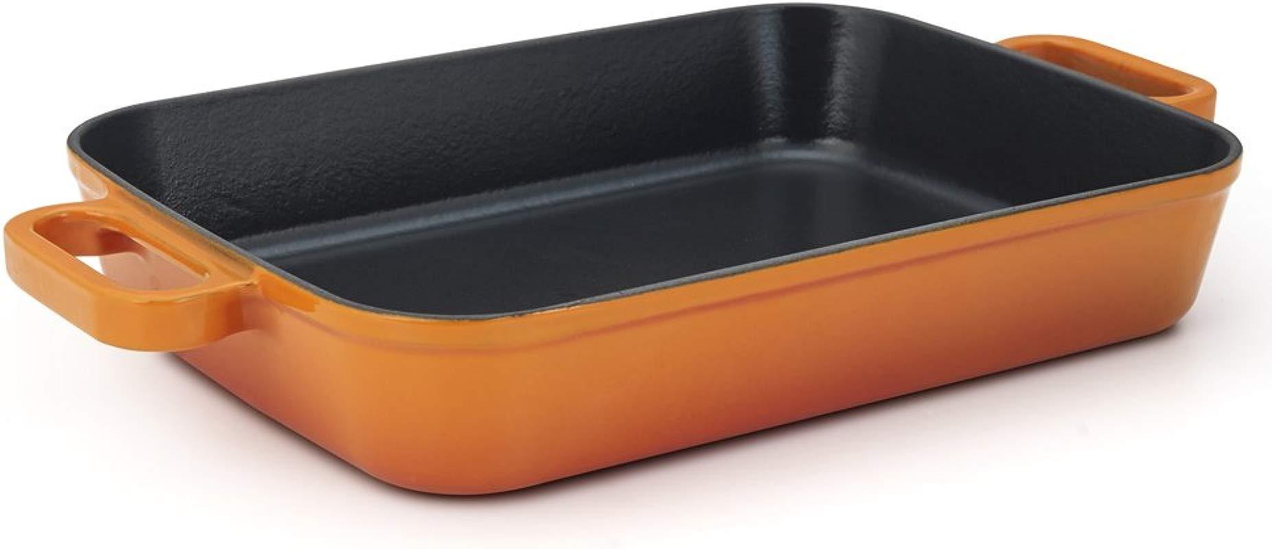 Essenso Chambery Enameled Cast Iron Baking Dish Roaster Lasagna Dish Orange 11 8