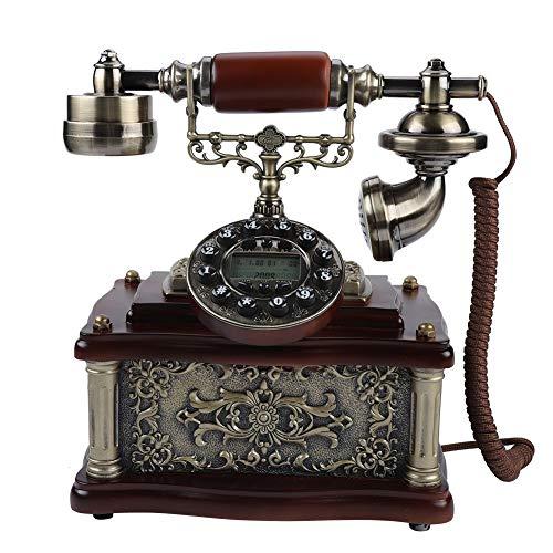Bewinner Retro Telefon, Klassisches Holz Festnetztelefone Retro Vintage Telefon mit LCD-Display Wählscheibe Antik Festnetz FSK/DTMF Telefon Automatische IP Home Telefon Festnetztelefon
