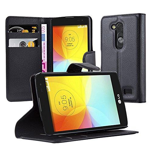 Cadorabo Hülle für LG L FINO in Phantom SCHWARZ - Handyhülle mit Magnetverschluss, Standfunktion & Kartenfach - Hülle Cover Schutzhülle Etui Tasche Book Klapp Style