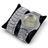 techno king watches for women - Techno King Men's Iced Out Hip Hop Metal Band Watch and Matching Studded Bracelet Gift Set GM1809-SLGD
