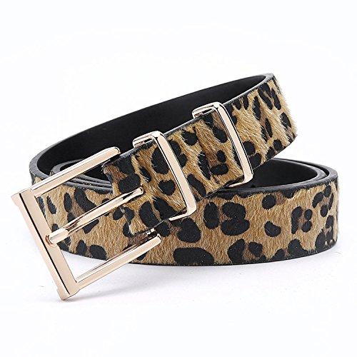 Profitd Mujer Cinturones Mujer Cinturón de crin con estampado de leopardo Hebilla de metal rosa dorado Pu de mujer Cinturón 125 Cm